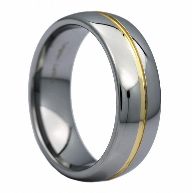 6/8mm Silver Tungsten Wedding Band Ring with Gold Groove Inlay - InnovatoDesign