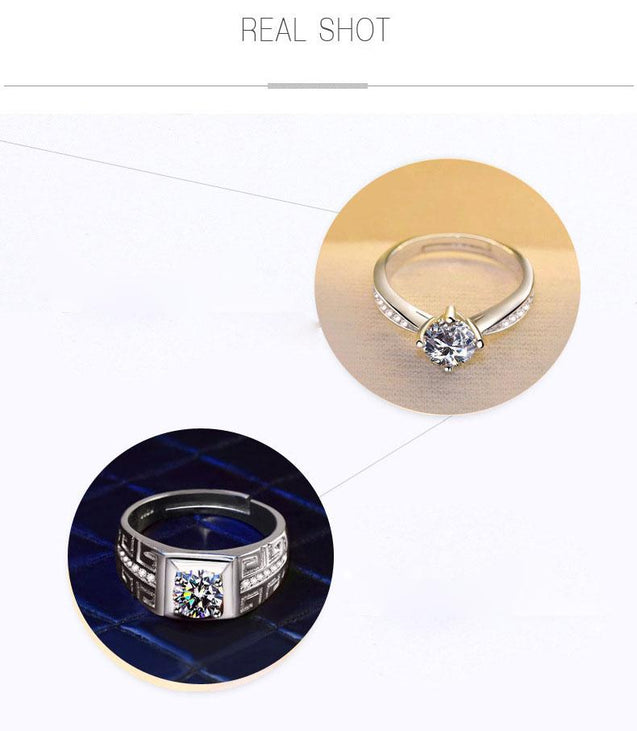 Matching Silver Four Claw Zircon Zirconia Wedding Rings for Man and Woman - InnovatoDesign