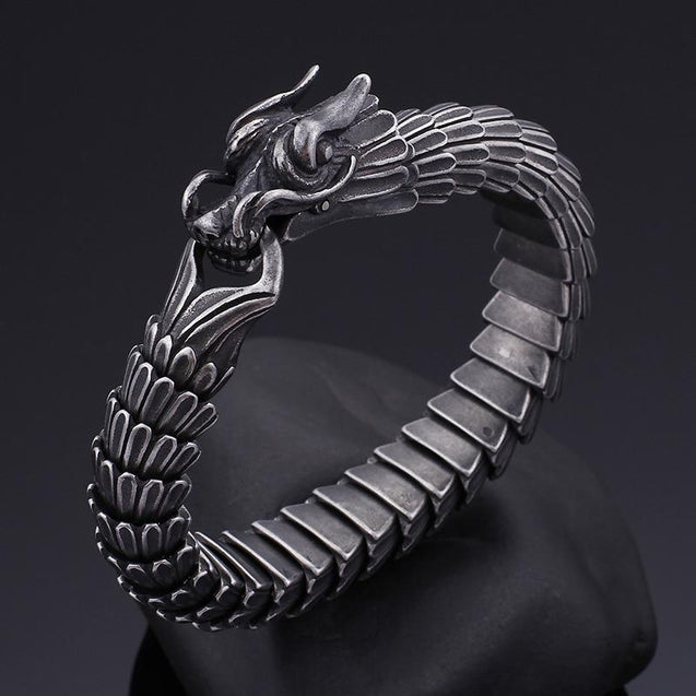 Flexible Matte Black and Silver Dragon Scale Bracelet - InnovatoDesign
