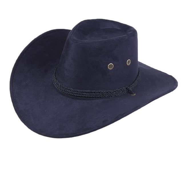 Wide Brim Faux Leather Western Cowboy Hat with Adjustable Chin Tie