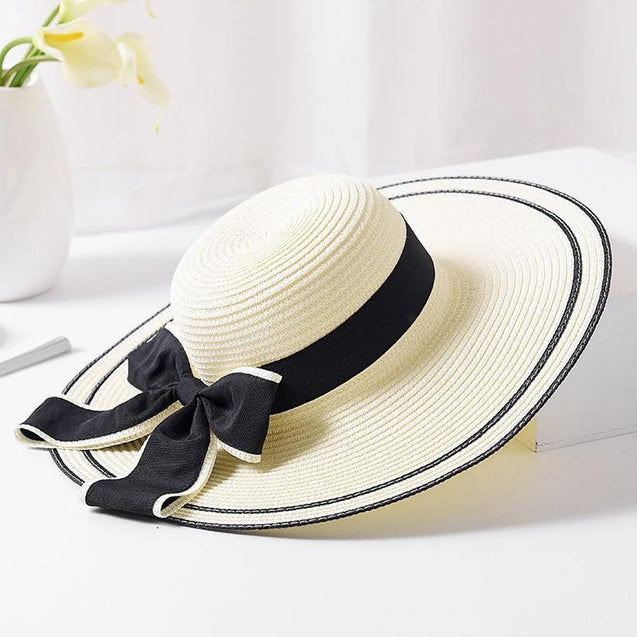 Foldable Floppy Straw Sun Hat with Silk Ribbon Bow