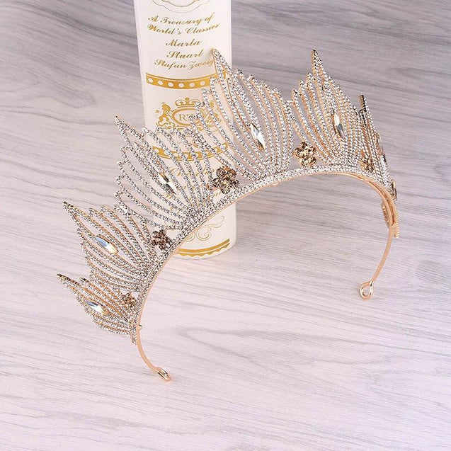 Silver & Gold Princess Wedding or Prom Crystals Crown - InnovatoDesign
