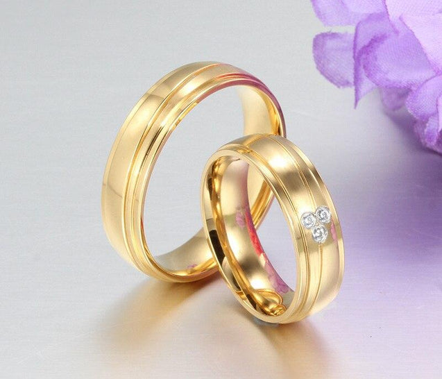 Gold Plated Stainless Steel with Tension Setting Cubic Zirconia Wedding Band - InnovatoDesign