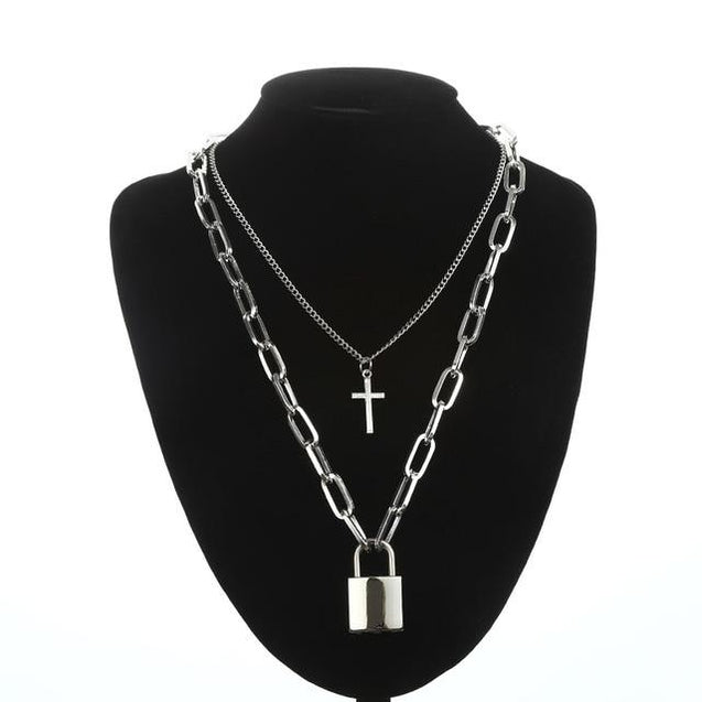 Layered Silver Chain Necklace with Cross and Lock Pendants - InnovatoDesign