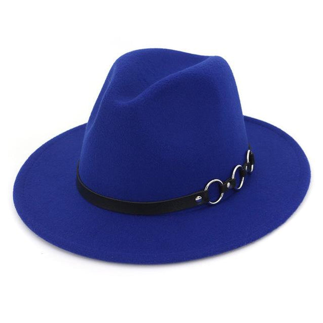 Wide Brim Vintage Felt Fedora Panama Hat with Chain Belt