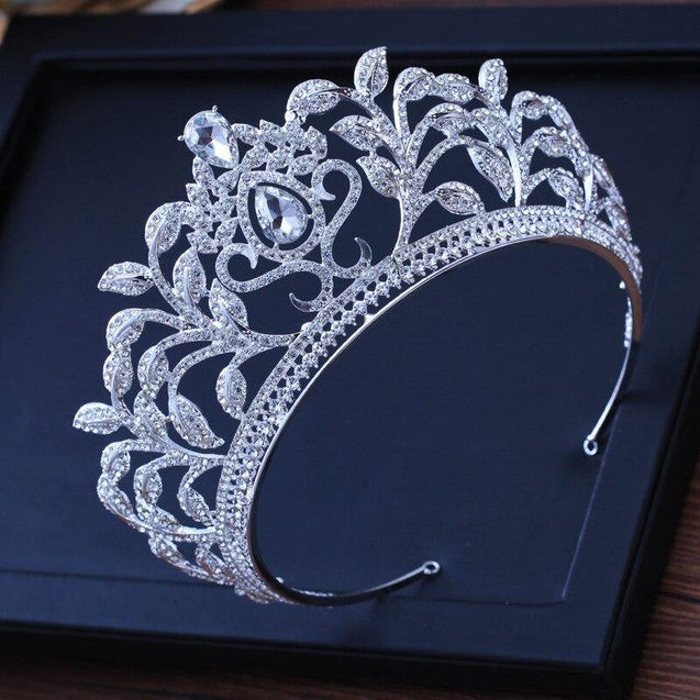 Luxury Baroque Leaf Crown for Women with Clear Zircon - InnovatoDesign