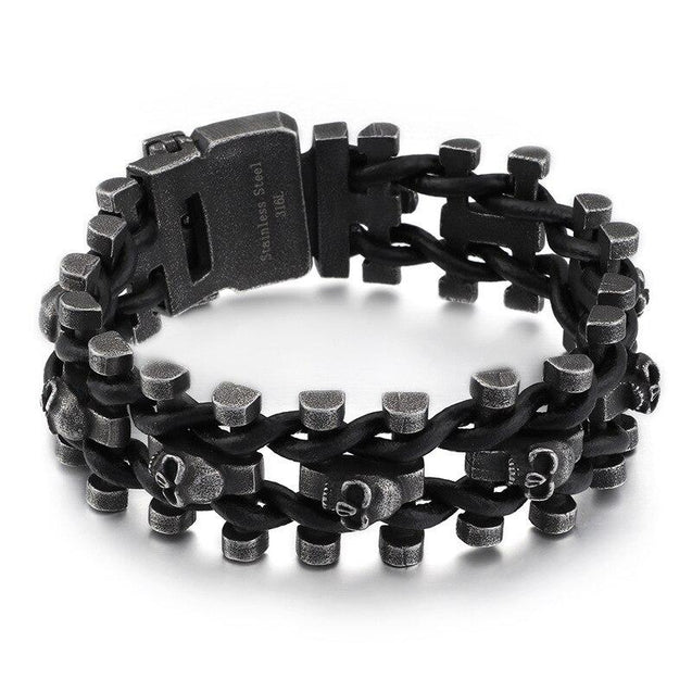 Stainless Steel Motorcycle Chain Antique Black Bracelet with Skulls - InnovatoDesign