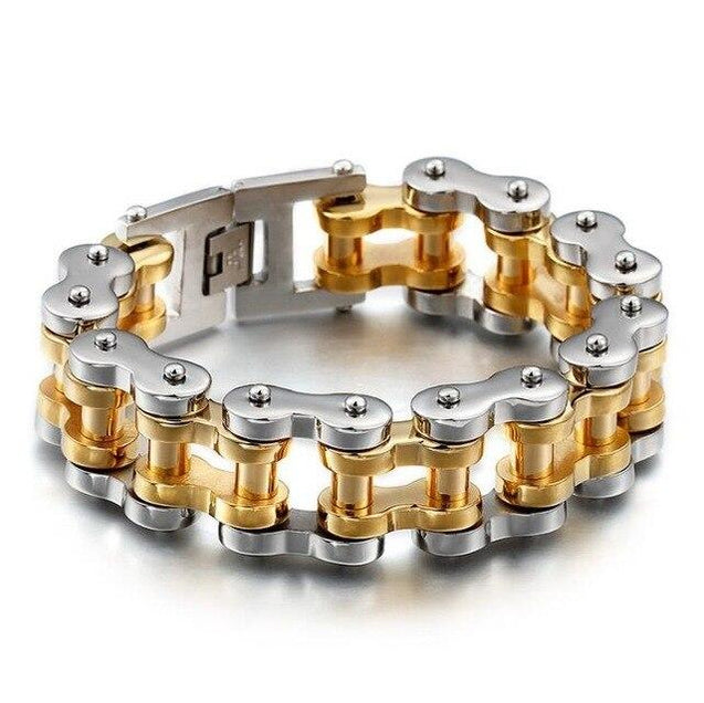 Large Biker Chain Stainless Steel Bracelet - InnovatoDesign