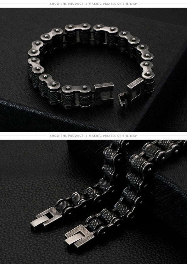 Antique Black Motorcycle Link Chain Bracelet - InnovatoDesign