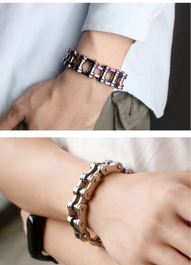 Motorcycle Chain Titanium Steel Bracelet in 4 Colors - InnovatoDesign