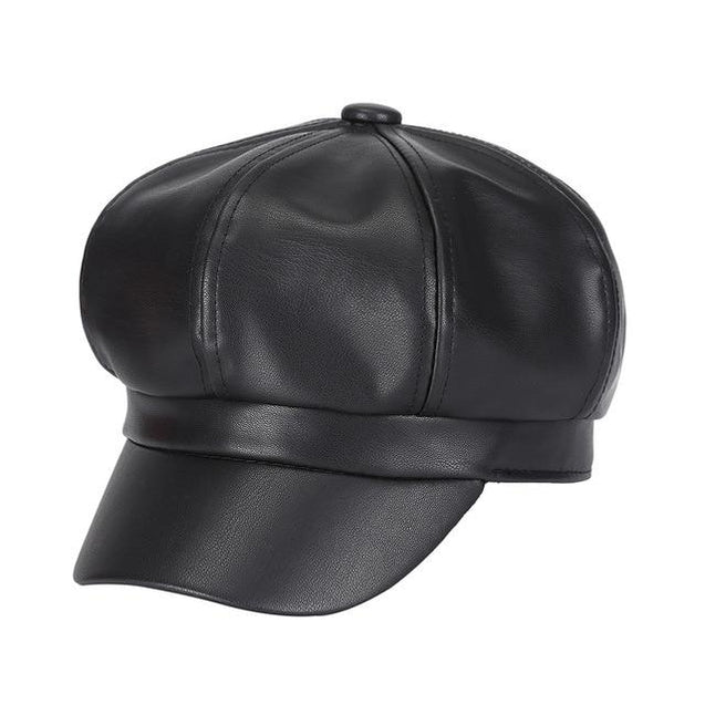 Classy Faux Leather Solid Color Painter Octagonal Hat