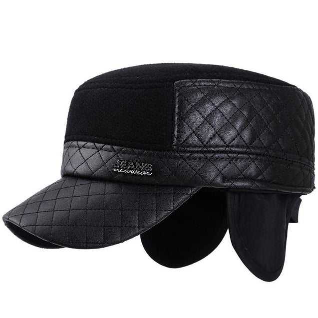 Buckled Snapback Military Hat with Earflaps