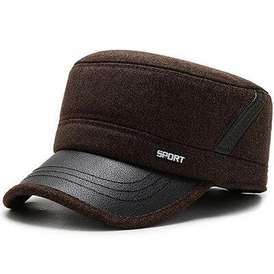 Buckled Thick Warm Solid Color Polyurethane Cotton Tweed Military Hat with Earflaps