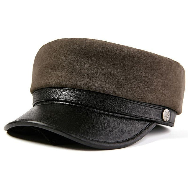 Vintage Genuine Sheepskin Leather Flat Top Military Cap