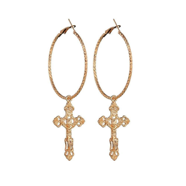 Catholic Drop Cross Hoop Earrings in Gold & Silver - InnovatoDesign