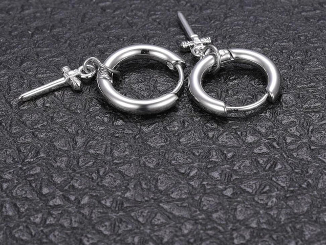 Punk Pair Cross Hoop Earrings Silver Unisex - InnovatoDesign