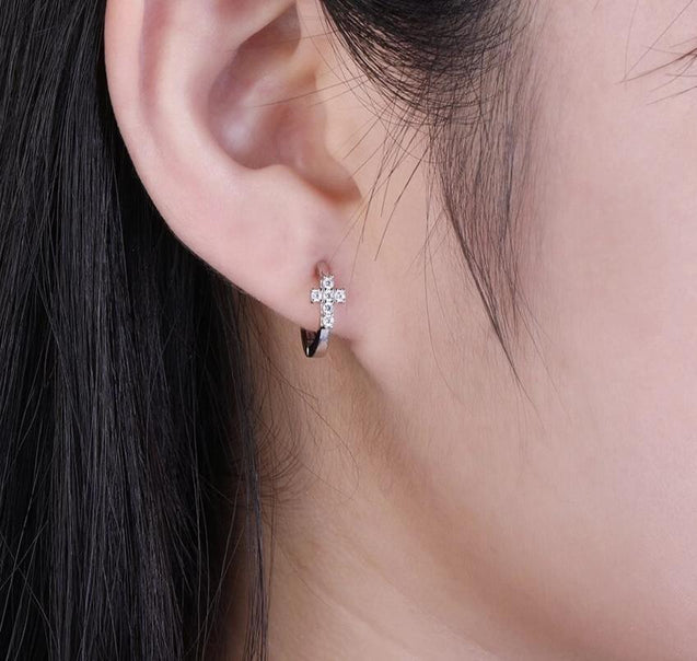 925 Sterling Silver Hoop Earrings with Cubic Zirconia Cross - InnovatoDesign