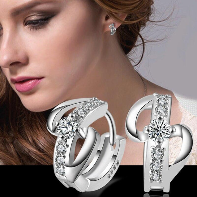 925 Sterling Silver Cross Hoop Earrings with AAA Cubic Zirconia - InnovatoDesign