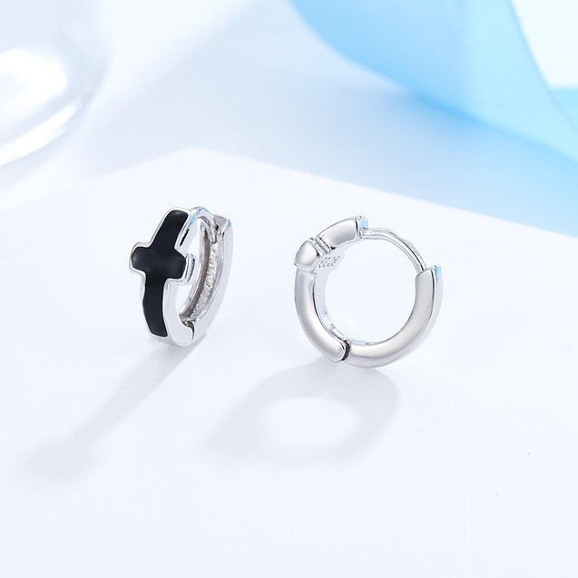 Black & Silver Circle Cross Hoop Earrings - InnovatoDesign