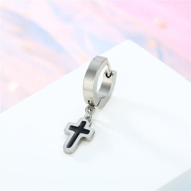 Punk Unisex Cross Hoop Earrings Silver & Black - InnovatoDesign