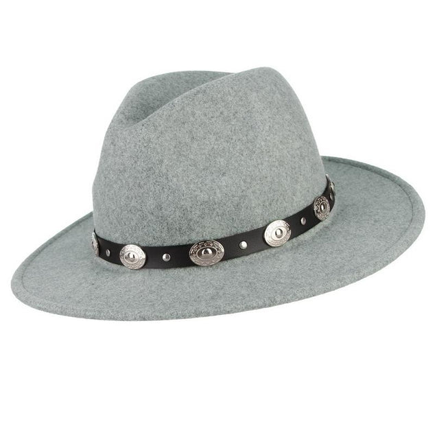 Wide Brim Wool Felt Fedora Hat with Silver Buttoned Leather Hatband