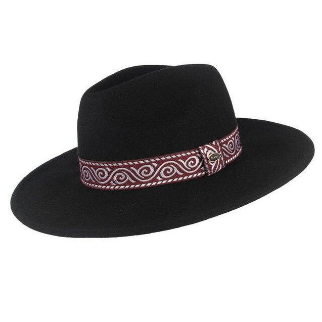 Wide Brim Wool Fedora Hat with Striped Vintage Band