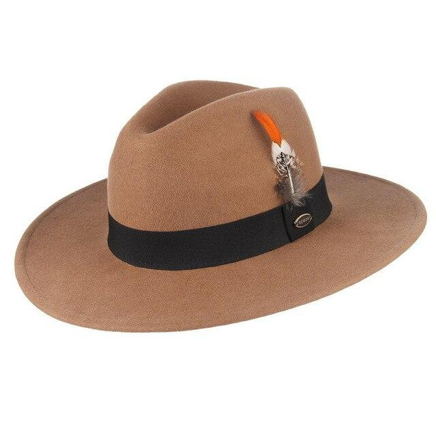 Wide Brim Wool Felt Fedora Hat with Striped Feather Band
