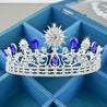 Royal Blue & Silver Crystal Bride Crown for Wedding - InnovatoDesign