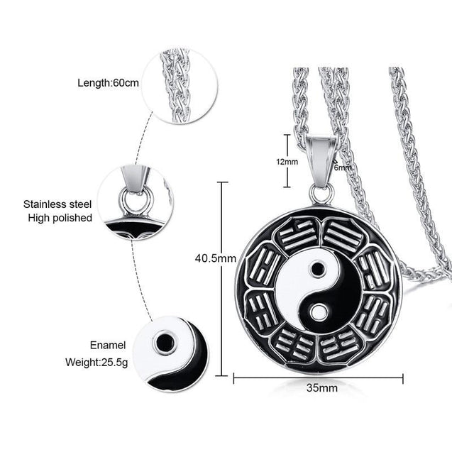 Yin & Yang Black Epoxy Stainless Steel Necklace - InnovatoDesign