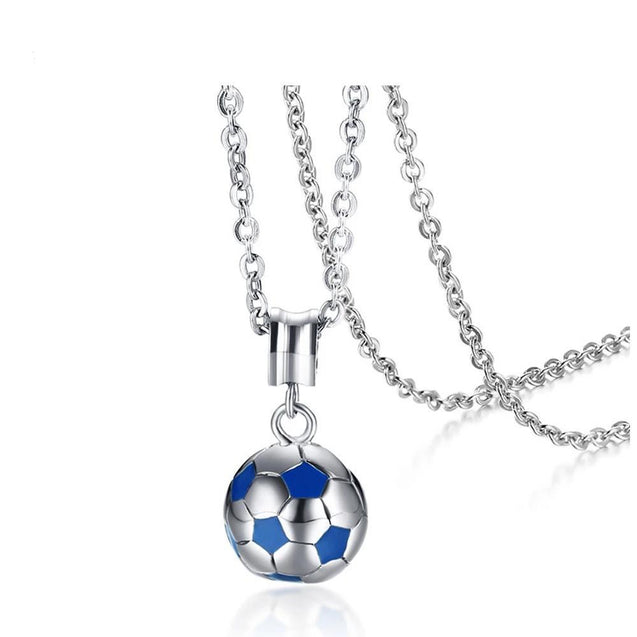 Blue & Silver Football / Soccer Stainless Steel Necklace for Men - InnovatoDesign