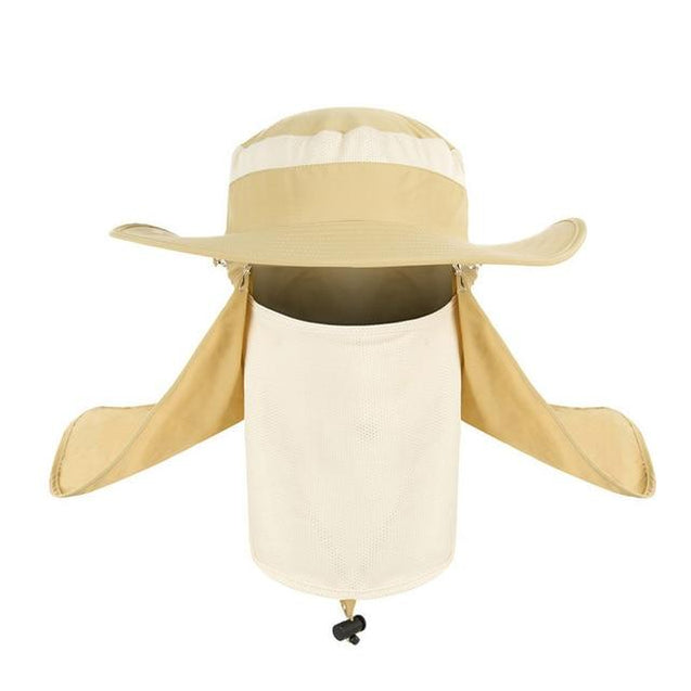 UV Protection Face Neck Cover Flap Hat with Rope