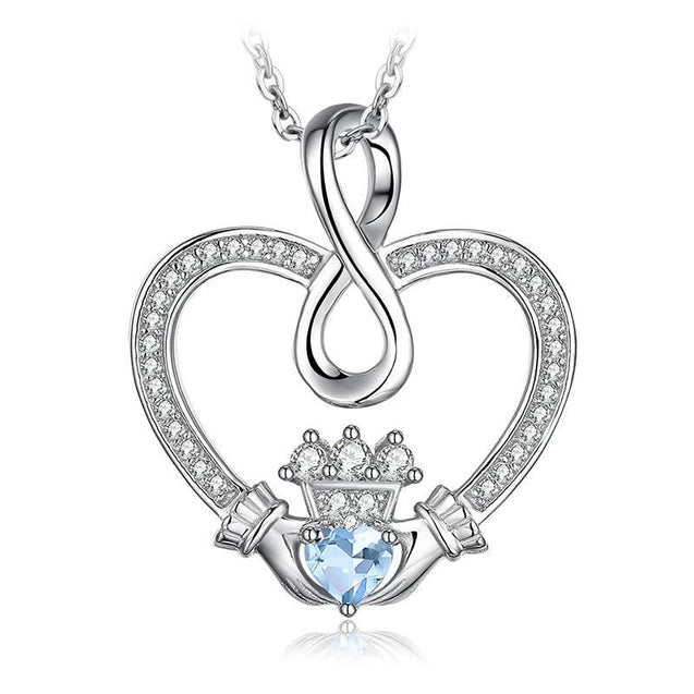 Infinity Claddagh & Blue Topaz Pendant Necklace 925 Sterling Silver - InnovatoDesign