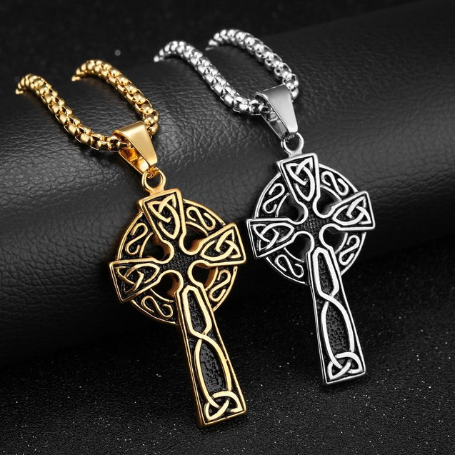Hip Hop Silver & Gold Celtic Cross Pendant Necklace with 24 Inch Chain - InnovatoDesign