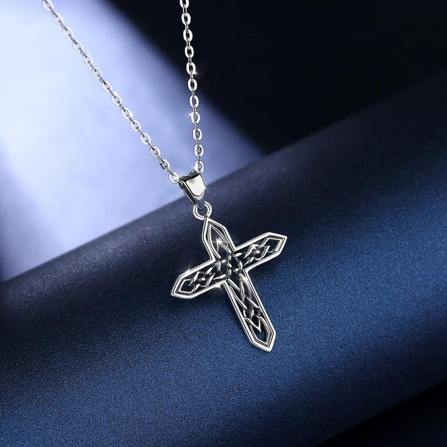 Celtic Cross with Irish Knot Vintage 925 Sterling Silver Necklace - InnovatoDesign