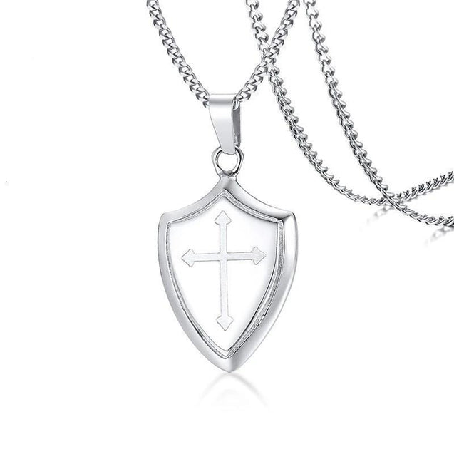Stainless Steel Silver Shield of Faith Pendant Necklace - InnovatoDesign