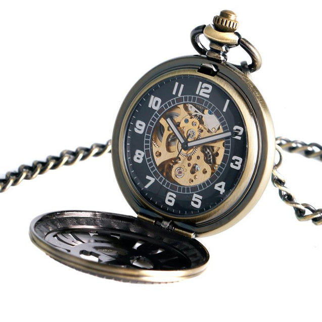 Skull and Poker Symbol Design on Black and Bronze Pocket Watch - InnovatoDesign