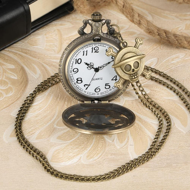 Bronze One Piece Skull Pattern Pocket Watch with Mini Keychain and Chain - InnovatoDesign