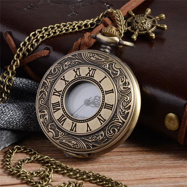 Bronze Pocket Watch with Roman Numeral Carving - InnovatoDesign