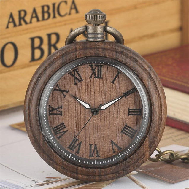 Wooden Pocket Watch with Roman Numeral Display - InnovatoDesign