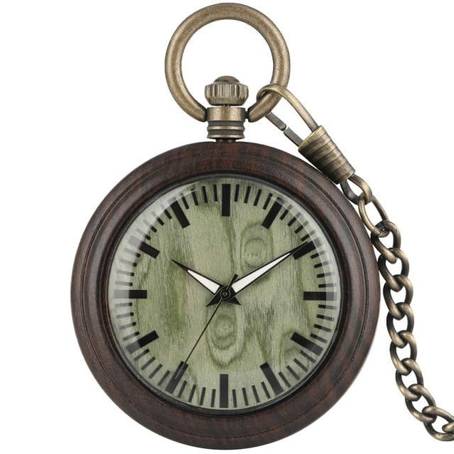 All Wood Pocket Watch with Bronze Chain - InnovatoDesign