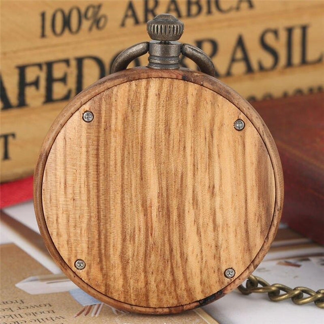 Gold Pocket Watch in Mahogany Wood Body - InnovatoDesign