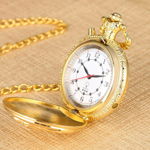 Luminous LED Light Classic Gold Pocket Watch - InnovatoDesign