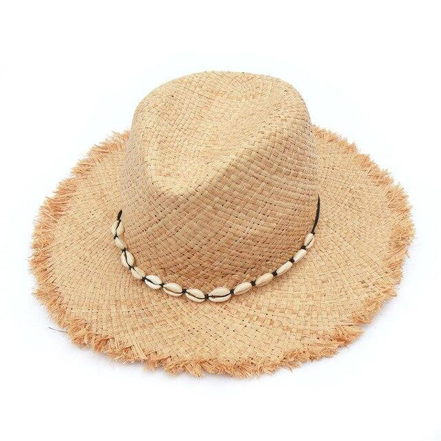 Raffia Panama Hat with Natural Hawaian Cowrie Shell Conch