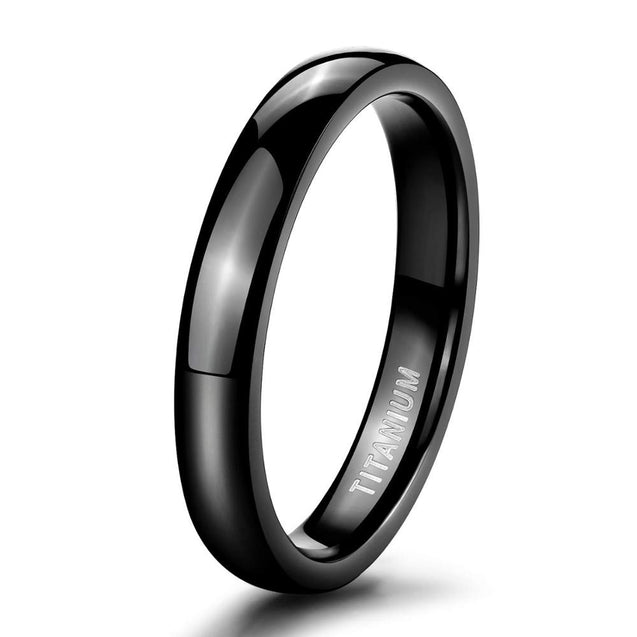 4mm Polished and Domed Titanium Fashion Wedding Ring