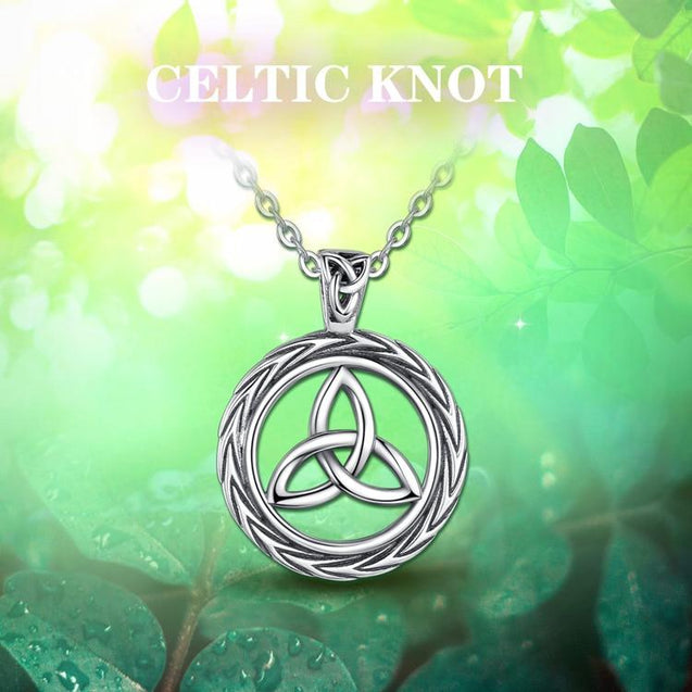 Celtic Trinity Knot / Triquetra Round 925 Sterling Silver Pendant Necklace - InnovatoDesign