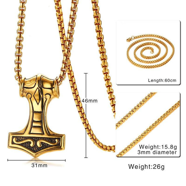"Golden Mjolnir Pendant with 24"" Long Chain Necklace - InnovatoDesign"