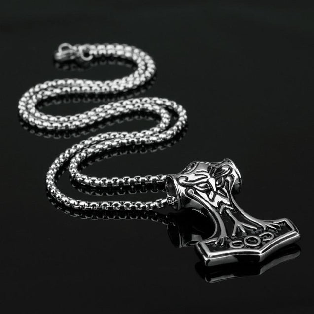 Thor's Hammer Pendant in Silver or Gold with Necklace Chain - InnovatoDesign