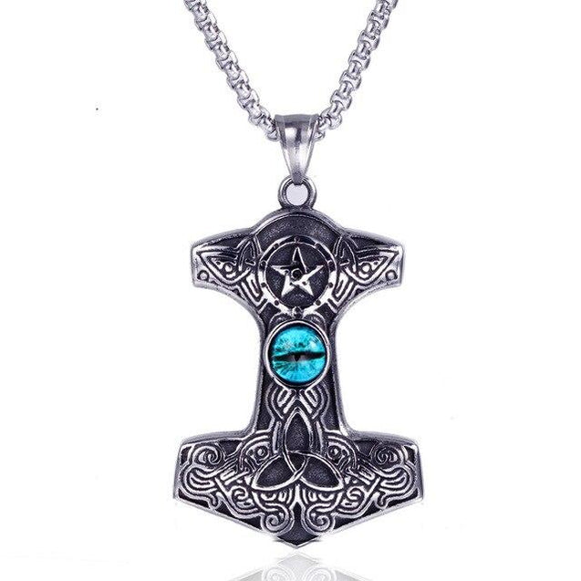 Silver Thor's Hammer Pendant with Sapphire Cat Eye Necklace - InnovatoDesign
