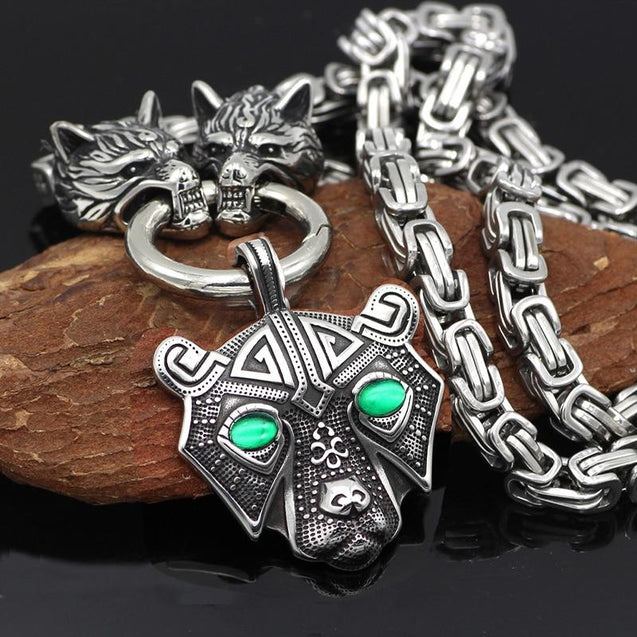 Viking Bear Head Pendant with Byzantine Wolf Chain Necklace - InnovatoDesign