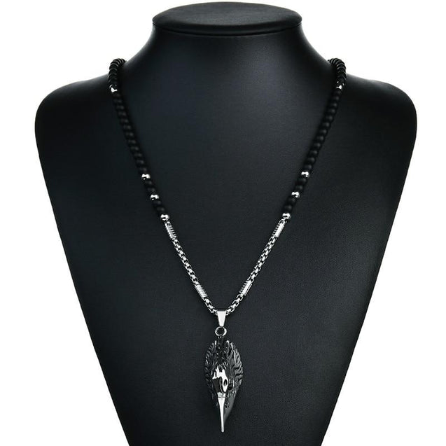 Silver Eagle Head Pendant with Chain and Agate Stone Necklace - InnovatoDesign